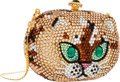 "Luxury Accessories:Bags, Kathrine Baumann Full Bead Gold & Brown Crystal Cat MinaudiereEvening Bag. Very Good to Excellent Condition. 4""Width..."