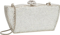 """Judith Leiber Full Bead Silver & Gray Crystal Snake Minaudiere Evening Bag Excellent Condition 6"""""""