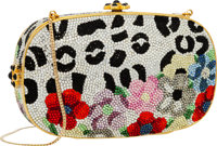 Judith Leiber Full Bead Multicolor Crystal Floral Minaudiere Evening Bag Very Good to Excellent Condition