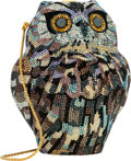 "Luxury Accessories:Bags, Judith Leiber Full Bead Purple & Brown Crystal Owl MinaudiereEvening Bag . Excellent Condition . 5"" Width x 5""Height..."