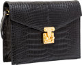 "Luxury Accessories:Bags, Lana Marks Black Crocodile Box Clutch Bag with Shoulder Strap.Very Good Condition. 7"" Width x 5.5"" Height x 1.5""Dept..."