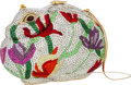 "Luxury Accessories:Bags, Judith Leiber Full Bead Silver & Red Crystal Rabbit MinaudiereEvening Bag . Excellent Condition. 6"" Width x 4""Height..."