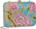 "Luxury Accessories:Bags, Judith Leiber Full Bead Pink & Blue Crystal Floral MinaudiereEvening Bag . Excellent Condition . 6.5"" Width x 5""Heig..."