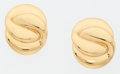 Luxury Accessories:Accessories, Yves Saint Laurent Gold Clip-on Earrings. ... (Total: 2 Items)