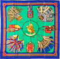 "Luxury Accessories:Accessories, Hermes 90cm Blue & Green ""Cuirs du Desert,"" by Francoise de laPerriere Silk Scarf. Pristine Condition. 36"" Width x36..."