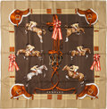 "Luxury Accessories:Accessories, Hermes 90cm Brown ""Jumping,"" by Phillipe Ledoux Silk Scarf.Excellent Condition. 36"" Width x 36"" Length. ..."