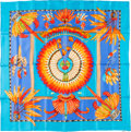 "Luxury Accessories:Accessories, Hermes 90cm Blue ""Brazil,"" by Laurence Bourthoumieux Silk Scarf.Excellent Condition. 36"" Width x 36"" Length. ..."