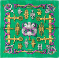 "Luxury Accessories:Accessories, Hermes 40cm Green ""Ferronnerie,"" by Caty Lantham Silk Scarf.Excellent Condition. 16"" Width x 16"" Length...."