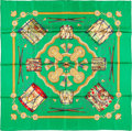 "Luxury Accessories:Accessories, Hermes 90cm Green ""Les Tambours,"" by Joachim Metz Silk Scarf.Excellent Condition. 36"" Width x 36"" Length. ..."