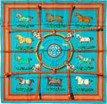 "Luxury Accessories:Accessories, Hermes 90cm Blue ""Couvertures et Tenues de Jour,"" by Jacques EudelSilk Scarf. Pristine Condition. 36"" Width x 36""Len..."