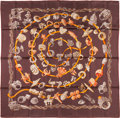 "Luxury Accessories:Accessories, Hermes 90cm Brown ""Alliances du Monde,"" by Annie Faivre Silk Scarf.Excellent Condition. 36"" Width x 36"" Length. ..."