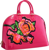 Louis Vuitton Limited Edition Fuchsia Vernis Leather Roses Alma GM Bag by Stephen Sprouse Excellent Condition</...