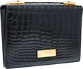 "Luxury Accessories:Bags, Donna Karan Black Crocodile Clutch with Brushed Gold Hardware.Good to Very Good Condition. 10"" Width x 7"" Height x2...."
