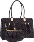 "Luxury Accessories:Bags, Judith Leiber Black Quilted Lizard Tote Bag. ExcellentCondition. 15"" Width x 10 Height x 5"" Depth. CITEScompli..."