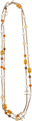"""Chanel Amber Glass Sautoire Necklace Excellent Condition 62"""" Length"""