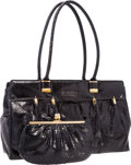 "Luxury Accessories:Bags, Judith Leiber Black Python Shoulder Bag with Gold Hardware. GoodCondition . 15"" Width x 10"" Height x 5"" Depth . ..."
