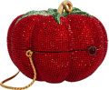 "Luxury Accessories:Bags, Judith Leiber Full Bead Red Crystal Tomato Minaudiere Evening Bag .Excellent Condition. 4"" Width x 4"" Height x 3"" Dep..."
