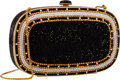 "Luxury Accessories:Bags, Judith Leiber Full Bead Black, Gold & Silver Crystal OvalMinaudiere Evening Bag . Very Good Condition . 6.5"" Widthx ..."