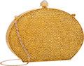 "Luxury Accessories:Bags, Judith Leiber Full Bead Gold Crystal Oval Minaudiere Evening Bag.Very Good to Excellent Condition. 6"" Width x 4""Heig..."