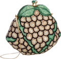 "Luxury Accessories:Bags, Judith Leiber Full Bead Green & Champagne Crystal GrapesMinaudiere Evening Bag. Excellent Condition. 5.5"" Width x 5""Heig..."