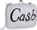 "Luxury Accessories:Bags, Judith Leiber Full Bead Silver Crystal Cash Minaudiere Evening Bag.Excellent Condition. 4"" Width x 3"" Height x 1"" Dep..."