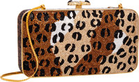 Judith Leiber Full Bead Leopard Print Crystal Rectangular Evening Bag Excellent Condition 6.5""