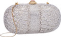 """Luxury Accessories:Bags, Judith Leiber Full Bead Silver Crystal Oval Minaudiere Evening Bag.Very Good Condition. 7"""" Width x 3.5"""" Height x 2"""" D..."""