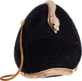 "Luxury Accessories:Bags, Judith Leiber Full Bead Black Crystal Snake Minaudiere Evening Bag.Excellent Condition. 6"" Width x 6"" Height x 1.5"" D..."