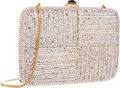 "Luxury Accessories:Bags, Judith Leiber Full Bead Silver Crystal Rectangular MinaudiereEvening Bag . Very Good to Excellent Condition . 6.5""Wi..."