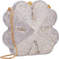 "Luxury Accessories:Bags, Judith Leiber Full Bead Silver Crystal Four Leaf Clover MinaudiereEvening Bag. Excellent Condition . 4.5"" Width x 4""..."
