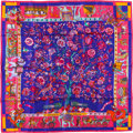 "Luxury Accessories:Accessories, Hermes 90cm Pink ""Fantaisies Indiennes,"" by Loïc Dubigeon SilkScarf. Pristine Condition. 36"" Width x 36"" Length...."