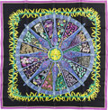 "Luxury Accessories:Accessories, Hermes 90cm Black & Violet ""Au Pays des Epices,"" by Annie Faivre Silk Scarf. Pristine Condition. 36"" Width x 36"" Lengt..."