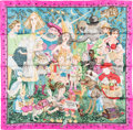 "Luxury Accessories:Accessories, Hermes 90cm Pink & Green ""Fairy Tales,"" by Phillippe Dumas SilkScarf. Excellent Condition. 36"" Width x 36"" Length...."