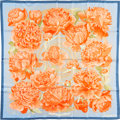 "Luxury Accessories:Accessories, Hermes 90cm Blue & Orange ""Les Pivoines,"" by ChristianeVauzelles Silk Scarf. Pristine Condition. 36"" Width x 36""Leng..."