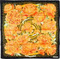 "Luxury Accessories:Accessories, Hermes 90cm Black & Orange ""Les Pivoines,"" by ChristianeVauzelles Silk Scarf. Pristine Condition. 36"" Width x 36""Len..."