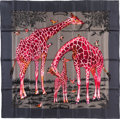 """Luxury Accessories:Accessories, Hermes 90cm Gray & Pink """"Les Girafes,"""" by Robert Dallet SilkScarf. Pristine Condition. 36"""" Width x 36"""" Length...."""