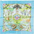 "Luxury Accessories:Accessories, Hermes 90cm Blue & Green ""Sarasvati,"" by Zoe Pauwels Silk Scarf. Pristine Condition. 36"" Width x 36"" Length. ..."