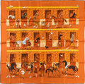 "Luxury Accessories:Accessories, Hermes 90cm Brown & Orange ""Les Boxes,"" by Jean-Louis ClercSilk Scarf. Excellent Condition. 36"" Width x 36""Length..."