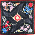 "Luxury Accessories:Accessories, Hermes 90cm Black ""Fleurs de L'Opera,"" by Julia Abadie Silk Scarf.Excellent Condition. 36"" Width x 36"" Length. ..."