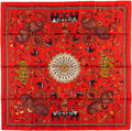 "Luxury Accessories:Accessories, Hermes 90cm Red ""Carre Kantha,"" Silk Scarf. PristineCondition. 36"" Width x 36"" Length. ..."