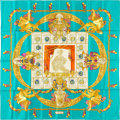 "Luxury Accessories:Accessories, Hermes 90cm Teal ""Hommage a Charles Garnier,"" by Caty Latham SilkScarf . 36"" Width x 36"" Length . PristineCondition..."