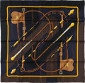 "Luxury Accessories:Accessories, Hermes 90cm Black ""Clic Clac,"" by Julia Abadie Silk Scarf .Pristine Condition . 36"" Width x 36"" Length . ..."