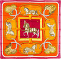 "Luxury Accessories:Accessories, Hermes 90cm Violet & Orange ""Grand Apparat,"" by Jacques EudelSilk Scarf. Excellent Condition. 36"" Width x 36""Length..."
