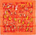 """Luxury Accessories:Accessories, Hermes 90cm Red """"Concerto,"""" by Jean-Louis Clerc Silk Scarf. Pristine Condition. 36"""" With x 36"""" Length. ..."""
