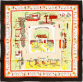 "Luxury Accessories:Accessories, Hermes 90cm Burgundy & White ""Retour a la Terre,"" by OliverDumas Silk Scarf. Pristine Condition. 36"" Width x 36""Leng..."