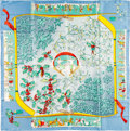 """Luxury Accessories:Accessories, Hermes 90cm Blue """"Neige d'Antan,"""" by Caty Latham Silk Scarf. Pristine Condition. 36"""" Width x 36"""" Length. ..."""