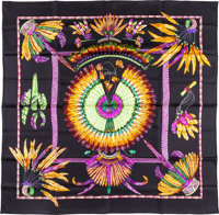 """Hermes 90cm Black """"Brazil,"""" by Laurence Bourthoumieux Silk Scarf Pristine Condition 36"""" Width x 3"""