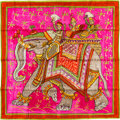 "Luxury Accessories:Accessories, Hermes 90cm Pink ""Beloved India,"" by Phillippe Dumas Silk Scarf. Pristine Condition. 36"" Width x 36"" Length. ..."