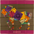 "Luxury Accessories:Accessories, Hermes 90cm Violet & Green ""A Cheval sur Mon Carre,"" by BaliBarret Silk Scarf. Pristine Condition. 36"" Width x 36""Le..."