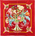 "Luxury Accessories:Accessories, Hermes 90cm Red ""Regina,"" by Leila Menchari Silk Scarf.Excellent Condition. 36"" Width x 36"" Length. ..."